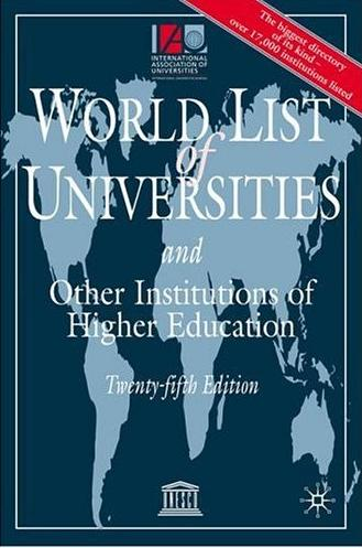 World list of universities and other institutions of higher sducation
